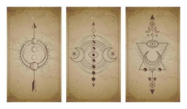 ilustrações de stock, clip art, desenhos animados e ícones de vector set of three vintage backgrounds with geometric symbols and frames. abstract geometric symbols and sacred mystic signs drawn in lines. - perto de deus