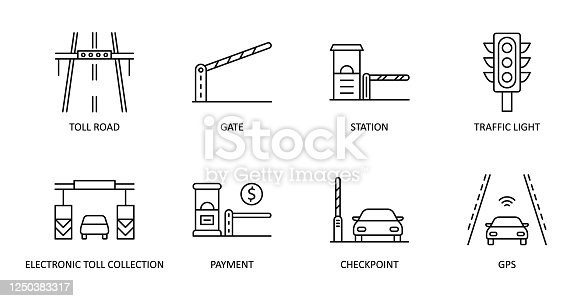 istock Vector set of toll road icons. Editable Stroke. Highway icon includes station gate traffic light. Electronic toll collection, gps payment checkpoint for web design and applications 1250383317