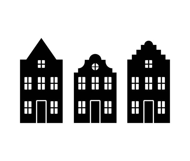 Vector set of traditional old Europe buildings like Amsterdam houses Vector set of traditional old Europe buildings like Amsterdam houses. Isolated black simplified silhouette decorative laser cut set stock illustrations