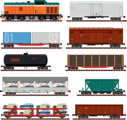Vector set of Train Cargo Wagons, Tanks, Cars