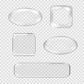 Vector set of transparent glass buttons. White glass sphere, square, rectangle with glares and highlights. Vector illustration contains gradients and effects. Web icons for your design and business.