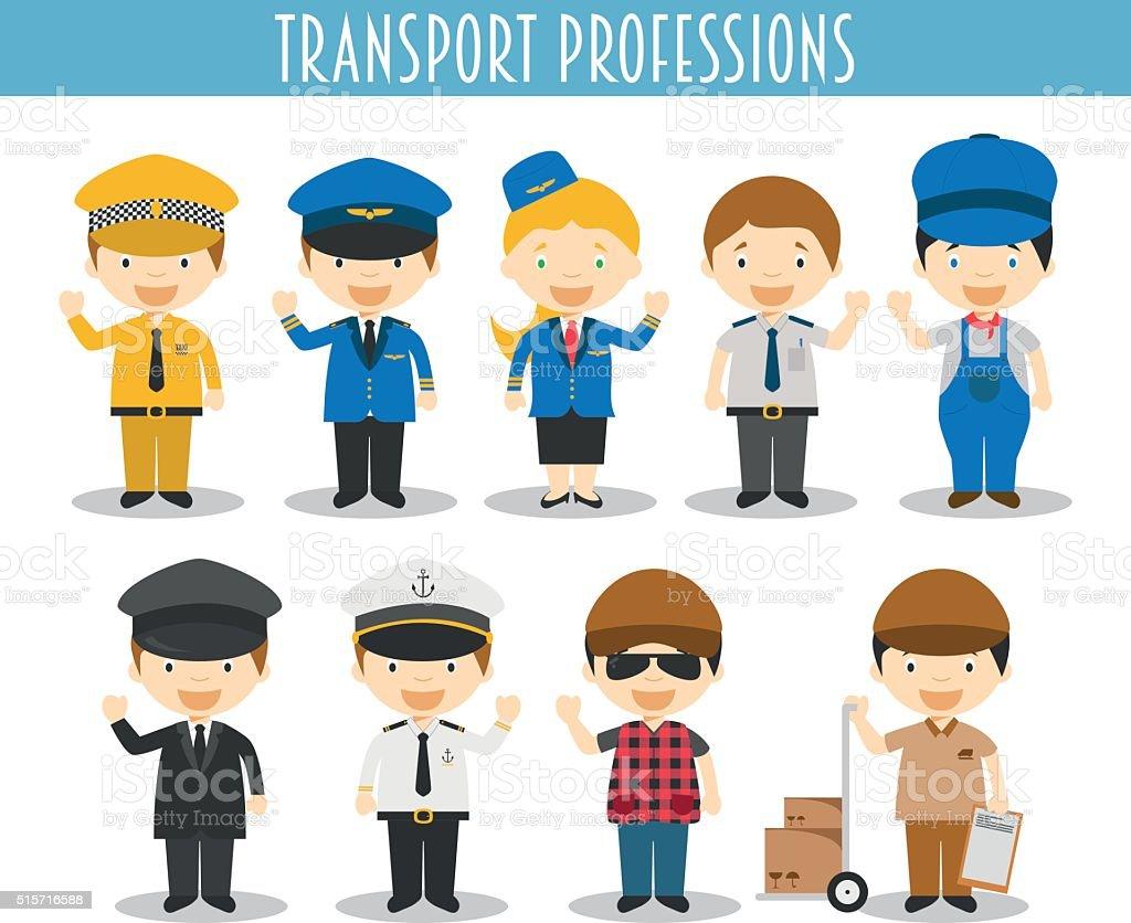 Vector de Conjunto de transporte profesiones en estilo de dibujos animados - ilustración de arte vectorial