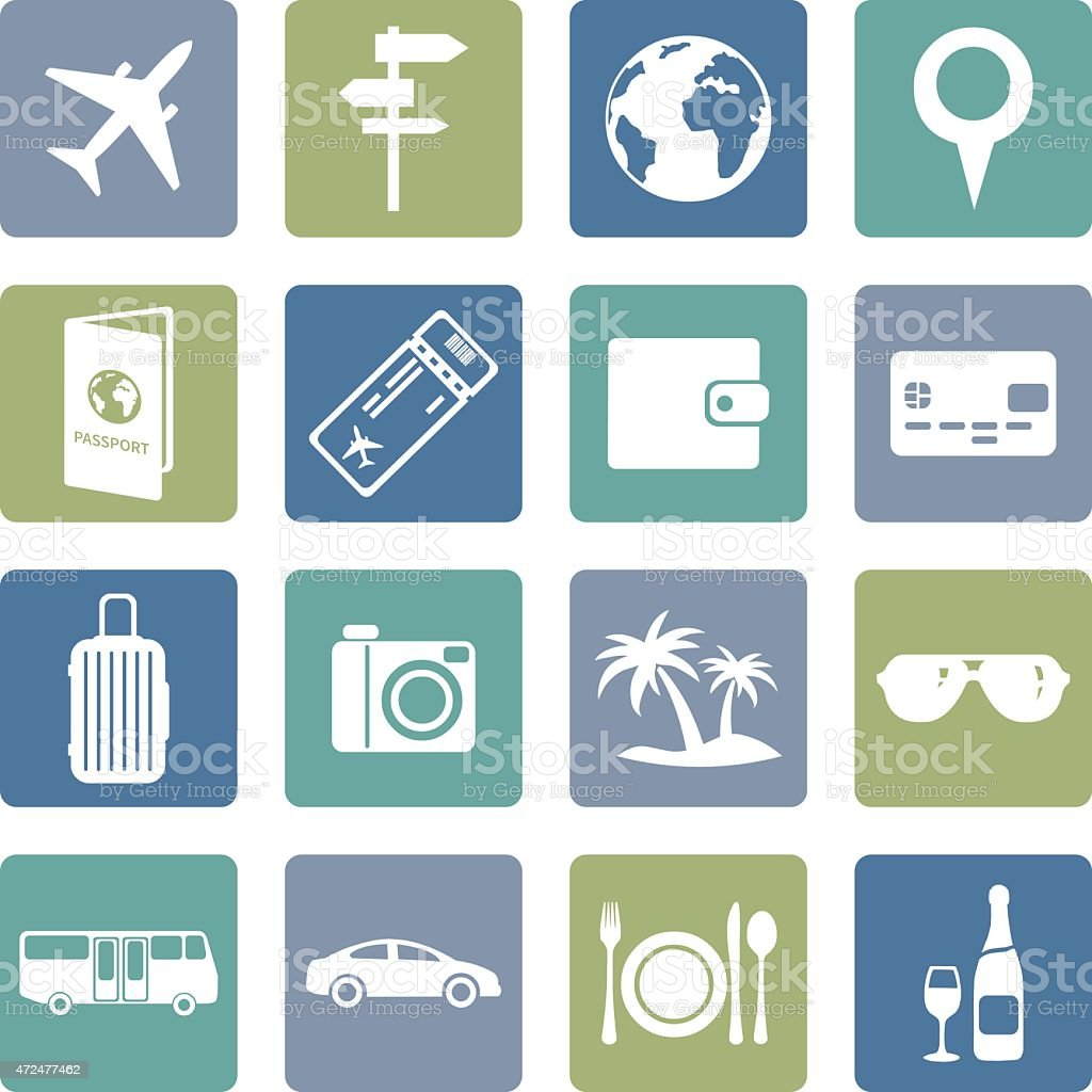 Vector set of travel and vacation icons vector art illustration
