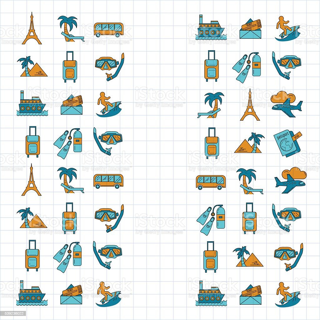 Vector set of travel icons Linear design royalty-free vector set of travel icons linear design stock illustration - download image now