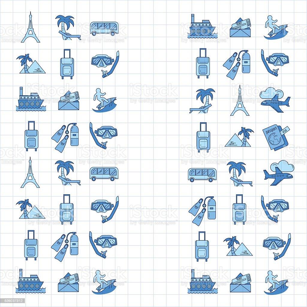 Vector de Conjunto de iconos de viaje de diseño lineal ilustración de vector de conjunto de iconos de viaje de diseño lineal y más banco de imágenes de a cuadros libre de derechos