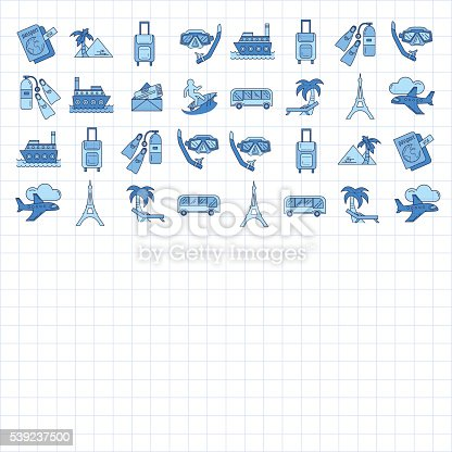 Vector Set Of Travel Icons Linear Design Stock Vector Art & More Images of Airplane 539237500