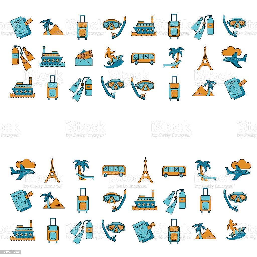 Vector de Conjunto de iconos de viaje de diseño lineal ilustración de vector de conjunto de iconos de viaje de diseño lineal y más banco de imágenes de aeropuerto libre de derechos