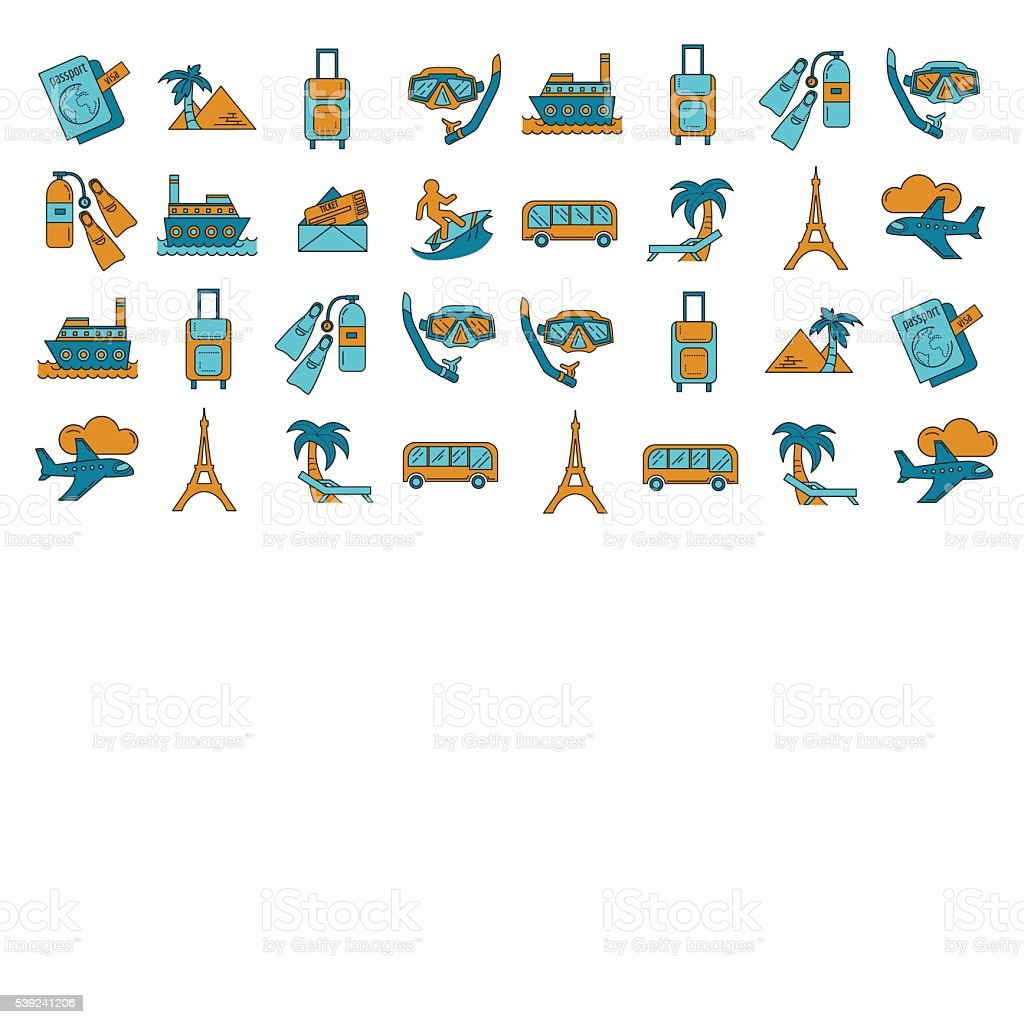 Vector set of travel icons Linear design royalty-free vector set of travel icons linear design stock vector art & more images of airplane