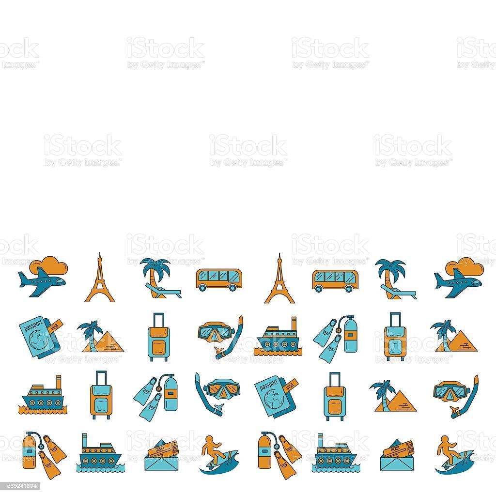 Vetor ícones de viagens Conjunto de desenho Linear ilustração de vetor ícones de viagens conjunto de desenho linear e mais banco de imagens de aeroporto royalty-free