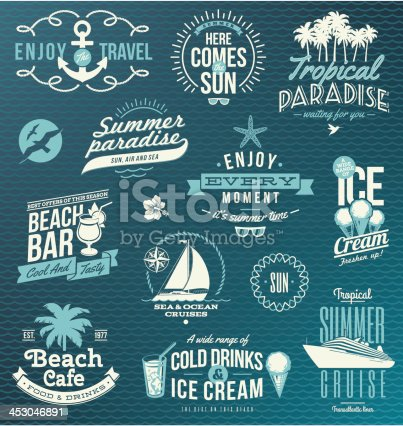 Vector set of travel and vacation emblems and symbols. EPS8.