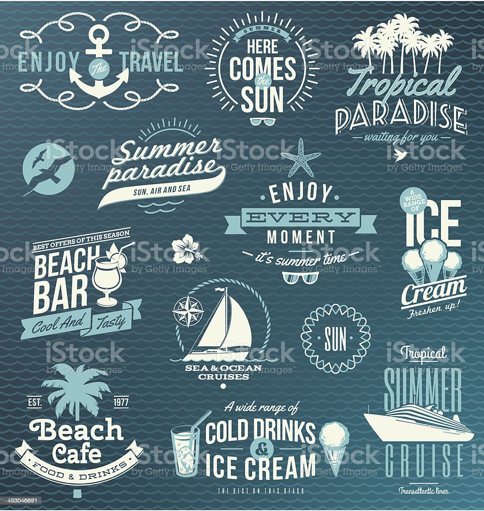 Vector set of travel, vacation emblems and symbols vector art illustration