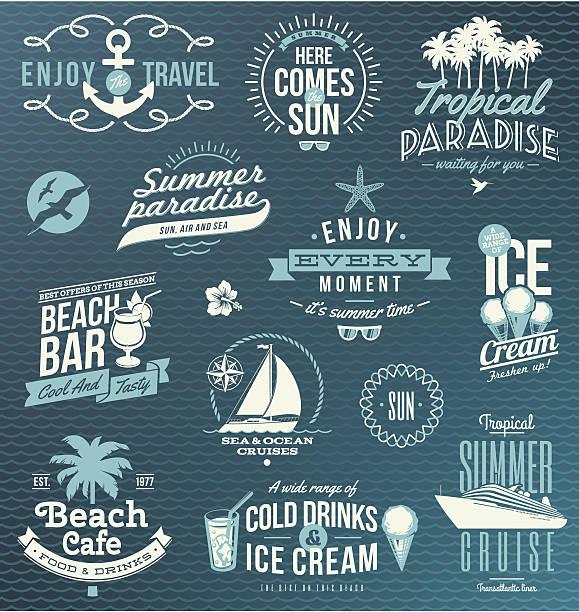 Vector set of travel, vacation emblems and symbols Vector set of travel and vacation emblems and symbols. EPS8. idyllic stock illustrations