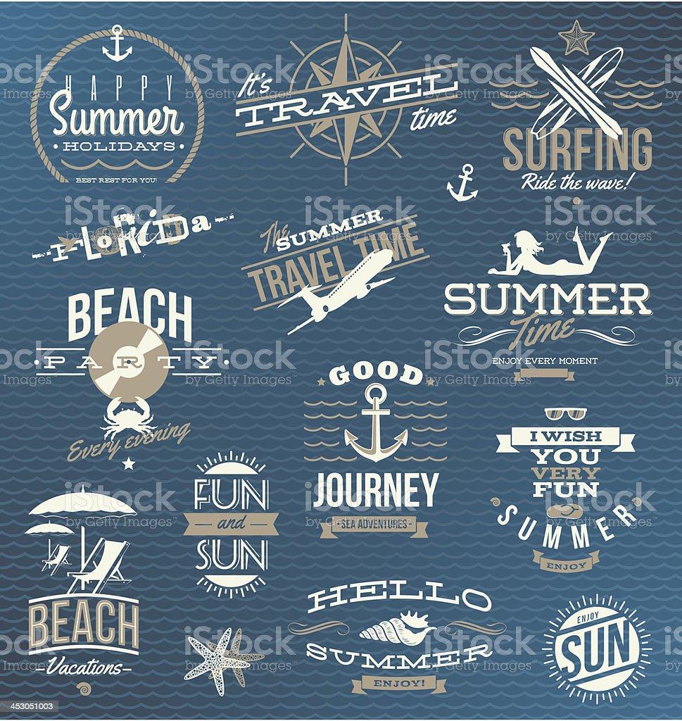 Vector set of travel, vacation emblems and symbols vector art illustration