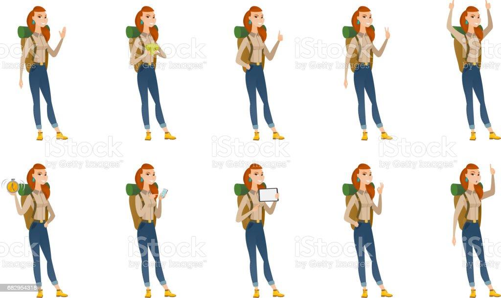 Vector set of traveler characters vector art illustration