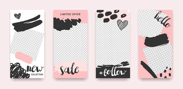 Vector set of trendy editable templates for social networks, stories, web banners, frames, illustration. Sale, fashion