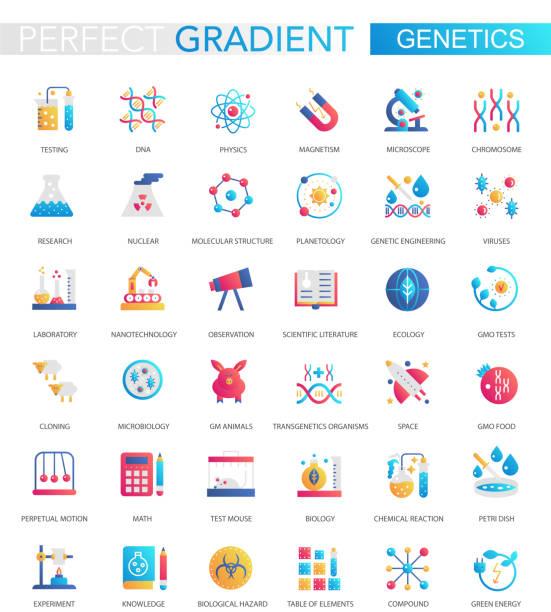 moda düz degrade genetik ve biyokimya simgeleri vektör seti. - burma home do stock illustrations