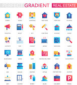 Vector set of trendy flat gradient Real estate icons