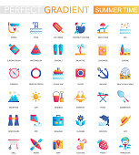 Vector set of trendy flat gradient Summer time icons