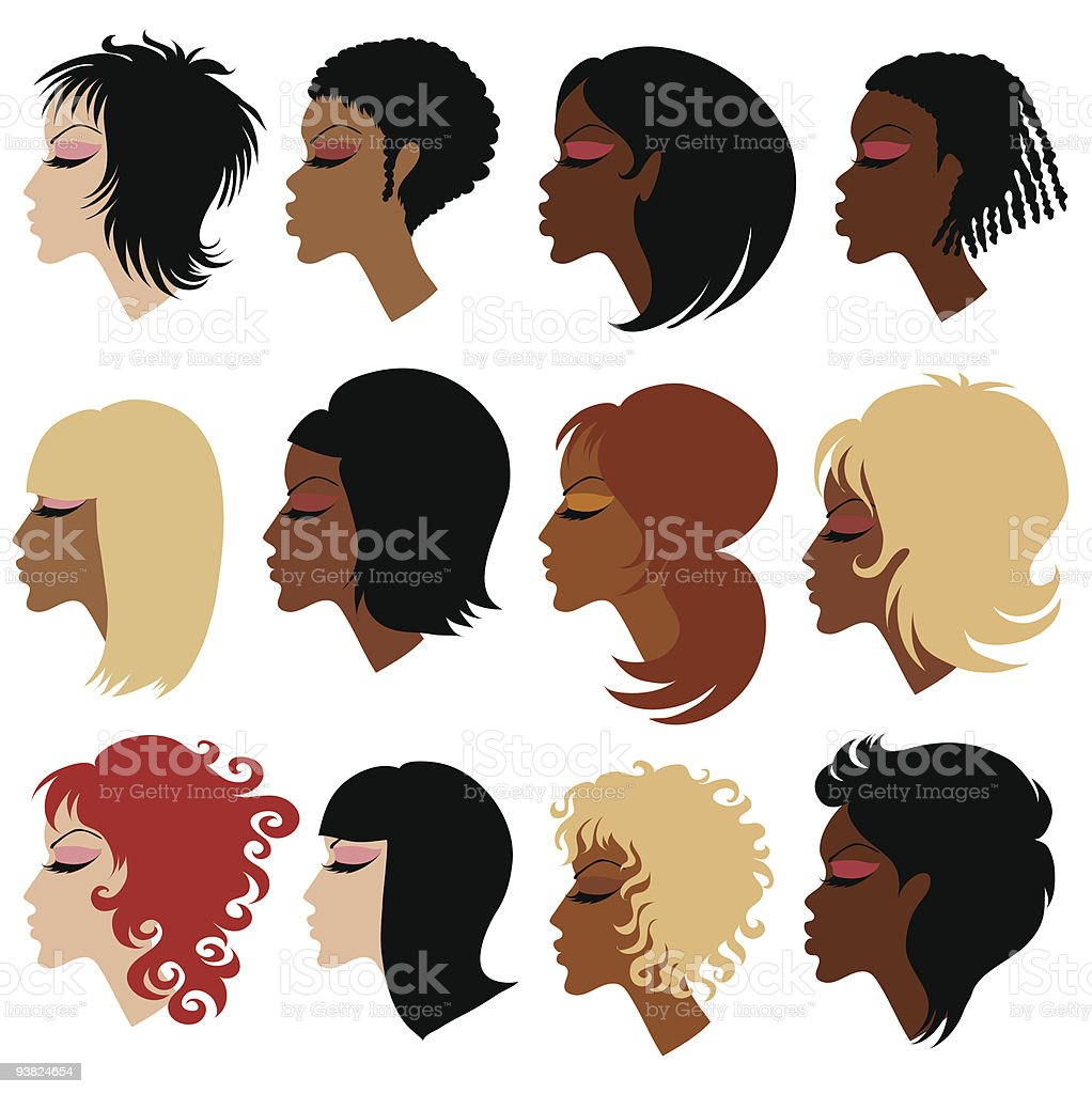 Vector set of trendy hair styling for woman vector art illustration