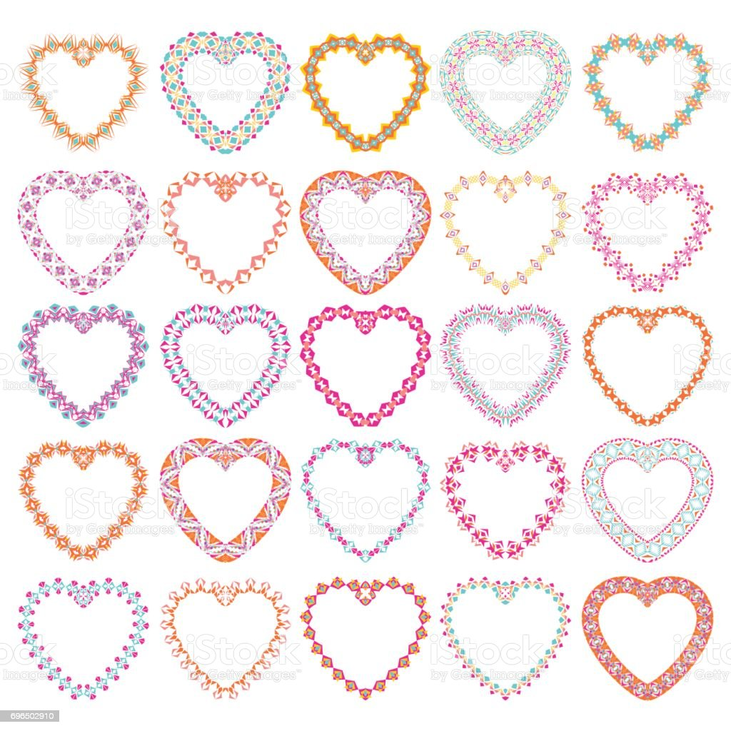 Vector Set Of Tribal Colorful Heart Shaped Decorative Frames For ...