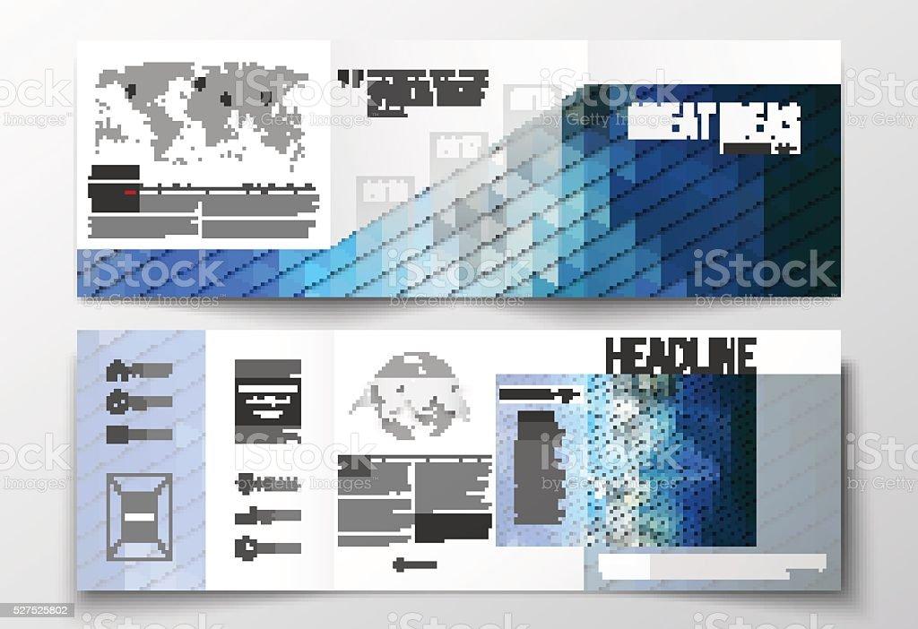 Vector set of tri-fold brochures, square design templates. Abstract vector art illustration