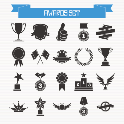 Vector set of trophies and awards