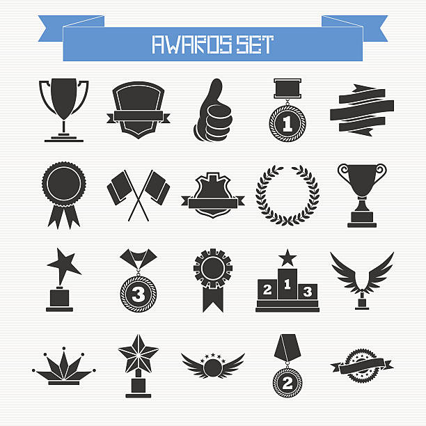 Vector set of trophies and awards Vector set of trophies and awards for your design crown headwear stock illustrations