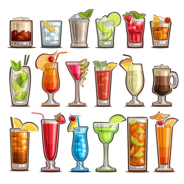 ilustraciones, imágenes clip art, dibujos animados e iconos de stock de conjunto de vector de cócteles tropicales - cóctel