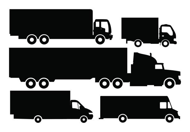 Vector set of trucks and trailers black and white color. vector art illustration