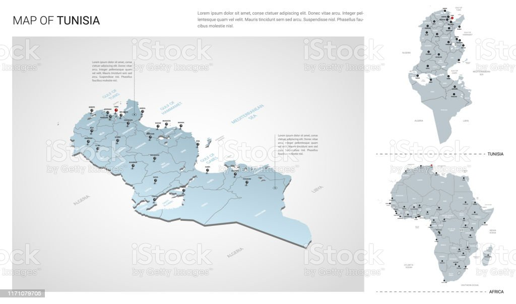 Picture of: Vector Set Of Tunisia Country Isometric 3d Map Tunisia Map Africa Map With Region State Names And City Names Stock Illustration Download Image Now Istock