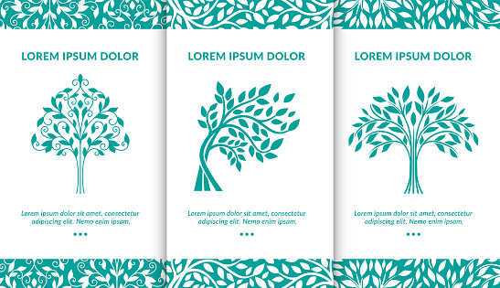 Vector set of turquoise tree logos. Modern vector illustration. Isolated vector. Great for emblem, monogram, invitation, flyer, menu, brochure, background, or any desired idea.