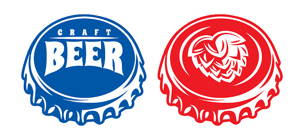 Vector set of two color illustrations with bottle metal caps.