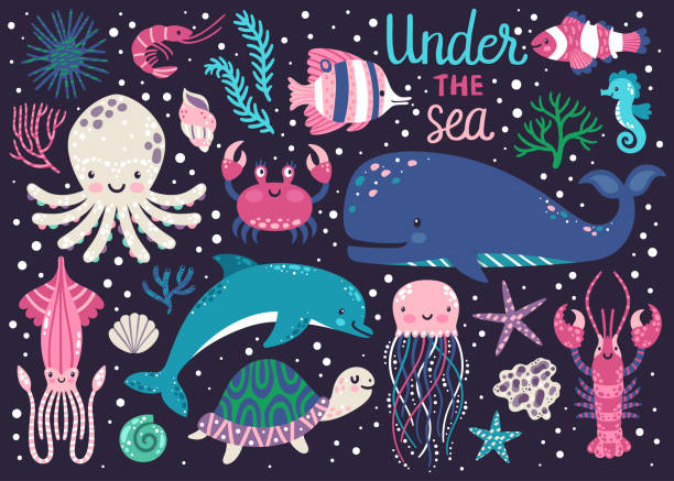 Vector set of underwater animals: octopus, whale, turtle, dolpin, jellyfish, crab, lobster, seahorse, squid, clownfish, butterflyfish, seaplants and corals. Childish background with cartoon characters Vector set of underwater animals: octopus, whale, turtle, dolpin, jellyfish, crab, lobster, seahorse, squid, clownfish, butterflyfish, seaplants and corals. Childish background with cartoon characters sea horse stock illustrations