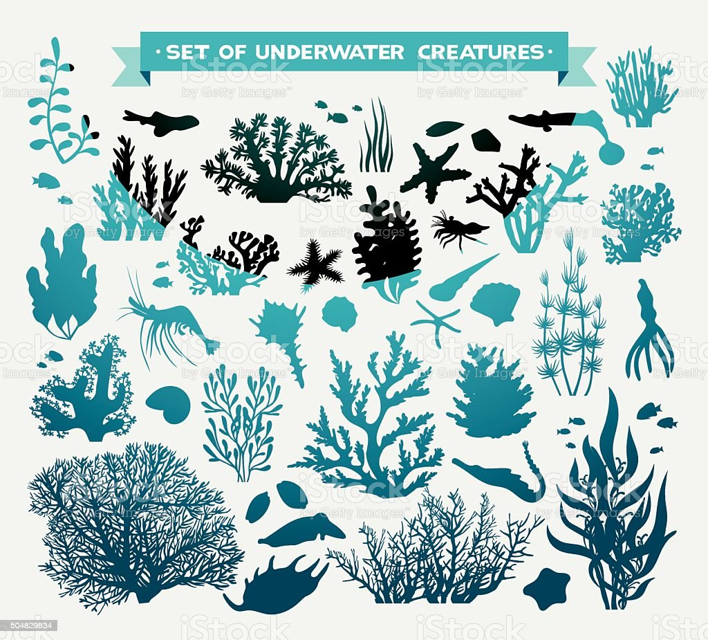 Vector set of underwater creatures - coral and fish. vector art illustration