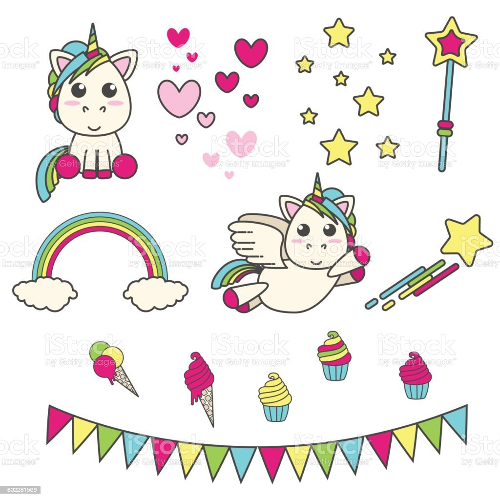 Vector Set Of Unicorn Hearts Stars Magic Wand Delicious And Flags ...