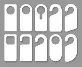 Vector Set of unique door hangers with trendy glass style isolated on white background. Door hanger mockup. Vector illustration EPS10