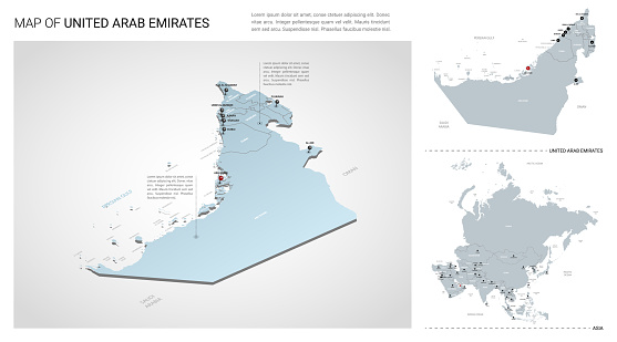 Vector set of United Arab Emirates country.  Isometric 3d map, UAE map, Asia map - with region, state names and city names.
