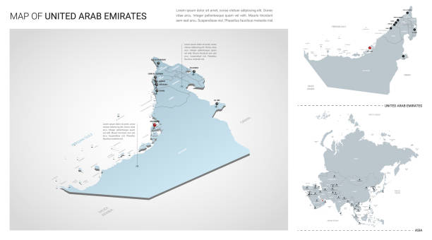 vector set of united arab emirates country.  isometric 3d map, uae map, asia map - with region, state names and city names. - abu dhabi stock illustrations