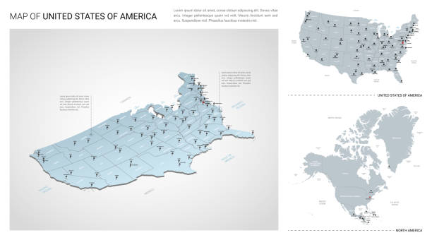 미국 국가의 벡터 세트입니다.  아이소메트릭 3d 지도, 미국 지도, 북미 지도 - 지역, 주 이름 및 도시 이름. - 미국 stock illustrations