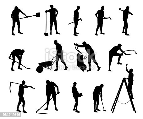 Vector set of unskilled construction and maintenance workers.