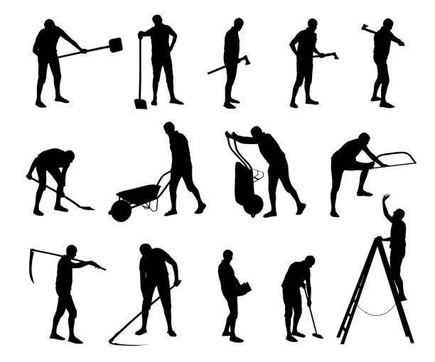 Vector set of unskilled construction and maintenance workers. Vector set of unskilled construction and maintenance workers. house painter stock illustrations