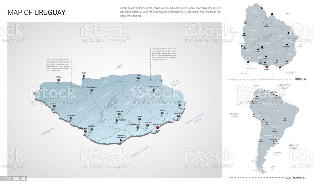 Vector Set Of Uruguay Country Isometric 3d Map Uruguay Map ...