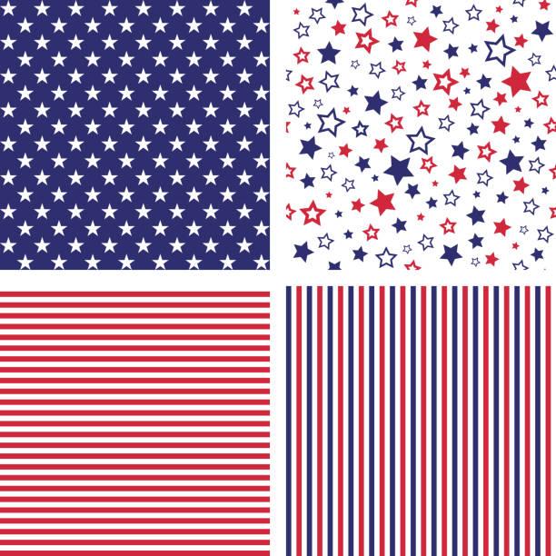 Vector set of US style seamless patterns Set of US style vector seamless patterns. Print backgrounds. Stars, stripes patriotic stock illustrations