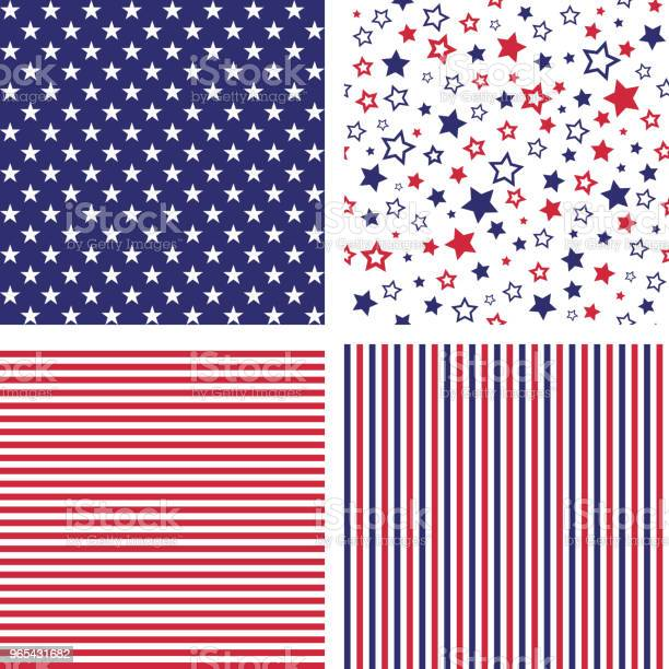 Vector Set Of Us Style Seamless Patterns Stock Illustration - Download Image Now