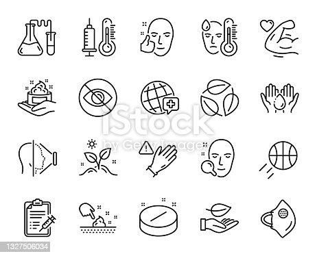 istock Vector set of Use gloves, Not looking and Grow plant line icons set. Vector 1327506034