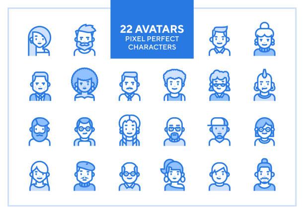 bildbanksillustrationer, clip art samt tecknat material och ikoner med vector uppsättning användare avatarer och profilbilder. - mänsklig ålder