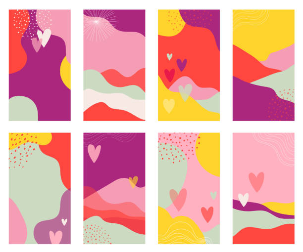 Vector set of Valentines day abstract backgrounds with copy space for text - banners, posters, cover design templates, social media stories wallpapers. Vector design vector art illustration