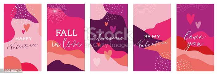 istock Vector set of Valentines day abstract backgrounds with copy space for text - banners, posters, cover design templates, social media stories wallpapers. Vector design 1199190749