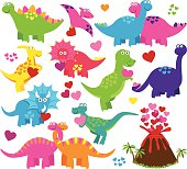 Vector Set of Valentine's Day or Love Themed Dinosaurs. No transparencies or gradients used. Large JPG included. Each element is individually grouped for easy editing.
