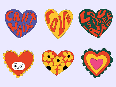 vector set of valentines in hippie style.Vintage heart shapes with flowers and lettering.Love message sticker.Vintage postcards in the style of the 60s and 70s.Retro tattoo templates. Funny hand drawn